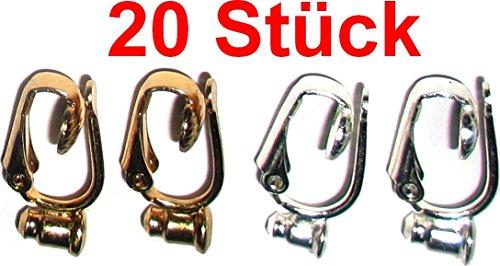 Ohrring / Ohrstecker Umwandler zum Ohr-Clip silber- und gold-farben (Mengenrabatt - je mehr desto preisgünstiger) (20)