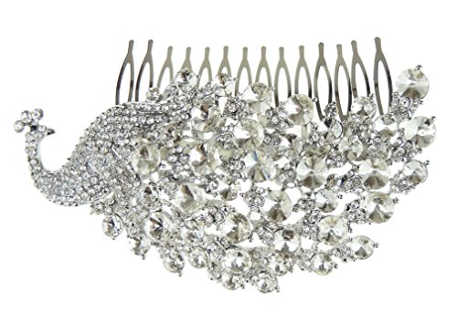 Large Ladies Extra Sparkly Peacock Tail Feathers Diamante Bridal Black Tie Comb by Glamour Girlz -