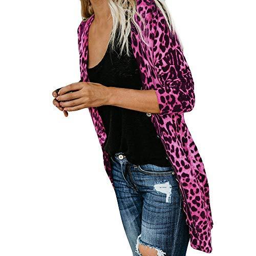 iHENGH Damen Herbst Winter Bequem Lässig Mode Frauen Langarm Leopard Print Mode Mantel Blusen T Shirt Tank Tops(L,Pink) (Kleid T-shirt Blend)