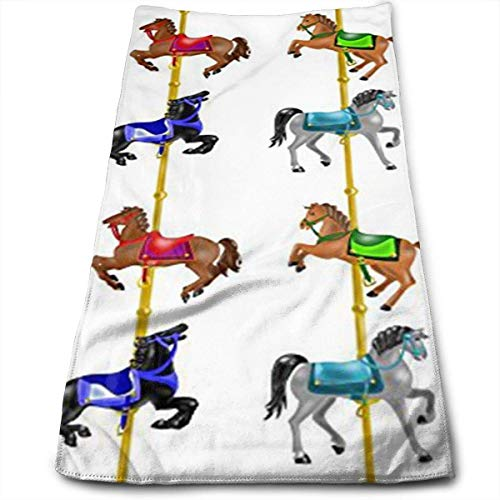 DAICHAI Carousel Horses Memory Towels Multi-Purpose Microfiber Soft Fast Drying Travel Gym Home Hotel Office Washcloths