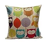 LAAT Baumwolle Leinen Bettwäsche Kissen Super Soft Kissenbezug Startseite Dekorative Kissen Kreative Persönlichkeit Bunte Eule Pillowcase für Sofa Stuhl