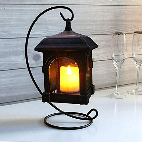 Retro Solar tischeleuchte mit LED Kerze und Halterung, Wetterfest hängelaterne Windlicht Laterne für Außen balkon Gartendeko Hof Party Wand Tisch Baum - Schwarz -