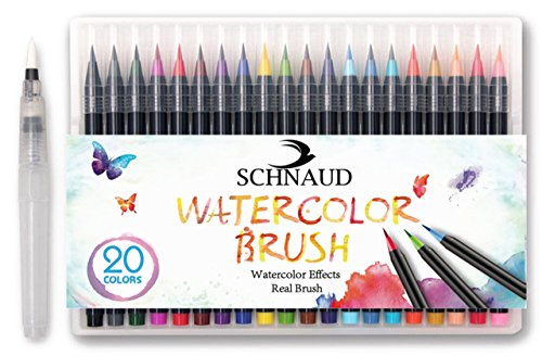 Schöne Schattierungen (SCHNAUD Pinselstifte Brush-Pen Set + GRATIS Pinselstiftebuch 39 Seiten auf Deutsch (E-Book) - 20 bunte Farben + 1 Wasserpinsel zum Vermischen der Farben, flexibel, echte Pinselspitze, ideal für Kalligrafie, Hand-Lettering, Aquarell- und Wasserfarben-Effekte)