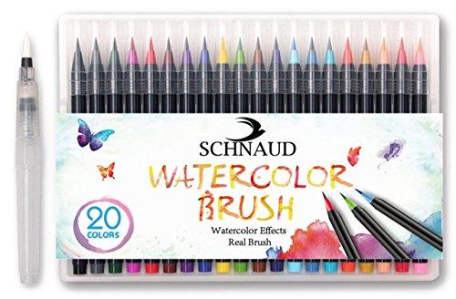 SCHNAUD Pinselstifte Brush-Pen Set + GRATIS Pinselstiftebuch 39 Seiten auf Deutsch (E-Book) - 20...