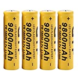 Bescita 4Pcs 3.7V 18650 9800mah Li-ion Rechargeable Battery For LED Flashlight Torch