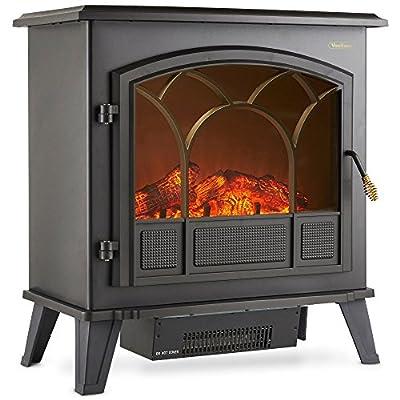VonHaus Electric Stove Heater Fire Place/Fireplace 1850W Portable - W61 X D34 X H67cm - Black