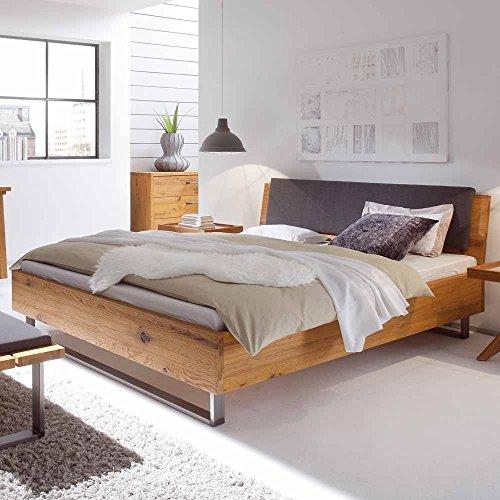 Pharao24 Bett aus Wildeiche Massivholz mit gepolstertem Kopfteil Ausführung 3 -