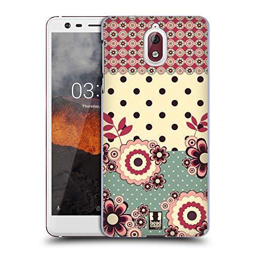 Head Case Designs Rosa Creme Blumen Und Punkte Harte Rueckseiten Huelle kompatibel mit Nokia 3.1