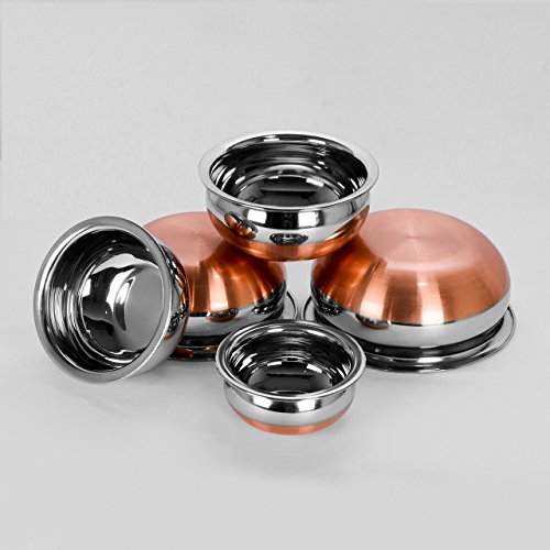 Sumeet Stainless Steel Copper Bottom Cookware Handi/Pot/Prabhu Chetty Without Lid, 0.5L, 1L, 1.3L, 1.9L, 2.7L (White, CBPC5) - Set Of 5 Pieces