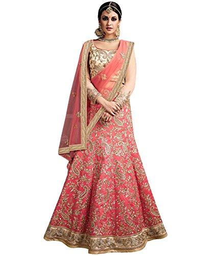 Indian Ethnicwear Bollywood Pakistani Wedding Peach A-Line Lehenga Semi-stitched