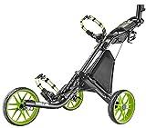 Caddytek EZ V2 3-Rad Golftrolley Golfwagen Golfcaddy Pushtrolley 3wheel Rahmen Charcoal schwarz matt Räder grün (schwarz/grün)