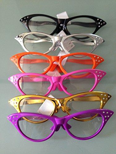 10 x JGA Junggesellenabschied Riesen Partybrille Bauchladen Fifties Cat Eye Brille mit Strass Partybrille zum 50er 60er Retro gross