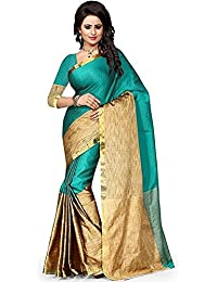 Welcome Fashion Cotton Silk Saree(1102 Rama__Free Size)