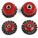 MultiWare M14 Crew Twist Knot Wire Wheel Cup Brush Set for 115mm Angle Grinder 4Pcs