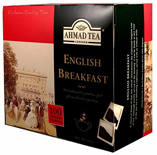 Ahmad Tea – English Breakfast | Schwarzteemischung | 100 Teebeutel á 2 g | Teebeutel ohne Band