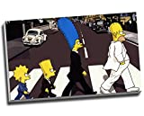 Quadro a stampa su tela pop art, motivo 'The Simpsons Abbey Road', dimensioni: 76,2 x 45,7 cm