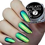 caméléon Miroir Chrome à ongles Accueillant Poudre Multi à changement de couleur Paillettes Bleu vert Effet doré