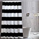 Schwarz Weiß Streifen Duschvorhang Anti-Schimmel & Wasserdicht PEVA Duschvorhang für Badewannen mit Haken 180x200cm