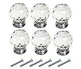 Kristall Möbelknopf -JLTPH 6PCS Crystal Ziehgriff 30mm Runde Glas Knauf Schublade Ziehgriff für Tür Kleiderschrank K�