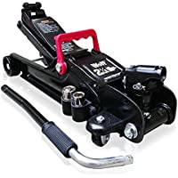 Wolf Black Jack All Steel Construction 2.25 Tonne Low Profile Trolley Jack - Saddle Heights: Min 80mm/Max 380mm - Includes 2 x Double Ended Sockets 17-19 -21-23mm