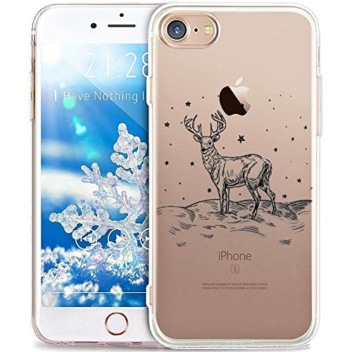 PHEZEN iPhone 4S Fall, iPhone 4, Weihnachten, iPhone 4S Crystal Clear TPU Fall, Ultra Slim Soft Silikon Gel Haut Handytasche Cover für iPhone 4/4S Elk (Iphone 4 Weihnachts-fall)