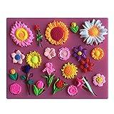 Karen Baking Schöne Sun-Blumen-und andere Blumen-Form 3D Silikon Backform für Kuchen-Fondant Dekorieren