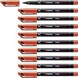 Marqueur STABILO OHPen - Lot de 10 marqueurs - Rouge (encre permanente / pointe médium 1 mm)