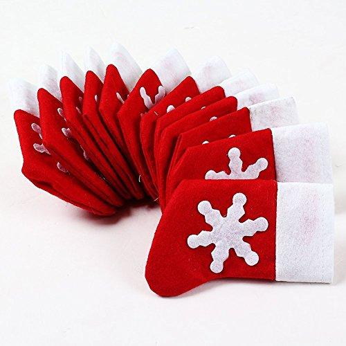 Topways® Pack 12 of Xmas Table Decoration Socks of Christmas Cutlery Holder Pockets(12 pcs Socks Pockets)