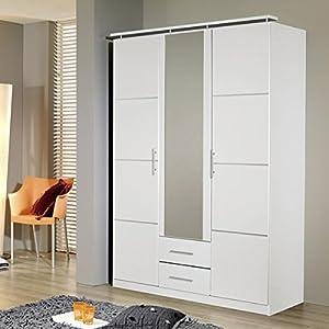 Kleiderschrank Devin weiß 3 Türen B 136 cm Schrank Drehtürenschrank Wäscheschrank Spiegelschrank Kinderzimmer…