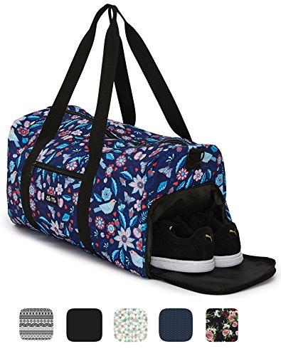 Ela Mo's Elegante Sporttasche Reisetasche mit Schuhfach | 38 Liter Handgepäck Weekender | für Frauen und Männer | in 6 trendigen Designs (Geschenk Kleine Tasche)