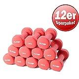 OLIVER Neopren Hantel 6 Paar je 1,5kg Aerobic Kurz Hanteln Gewichte Studio rot