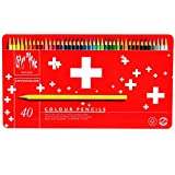 Caran D'ache Swisscolor - Juego de lápices de color (40 unidades, caja metálica)