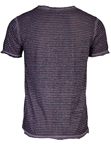 TREVOR'S ISMAEL Herren T-Shirt mit V-Ausschnitt und Streifen aus Baumwolle und Polyester - soziale fair trade Kleidung, Mode vegan und nachhaltig Color midnight, Size S - 2