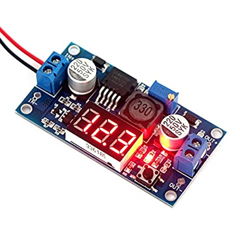 DROK® LM2577 Boost Converter DC 3-34V to 4-35V 5V/12V Adjustable Step Up Volt Regulator with Red LED Voltmeter Voltage Monitor Power Supply