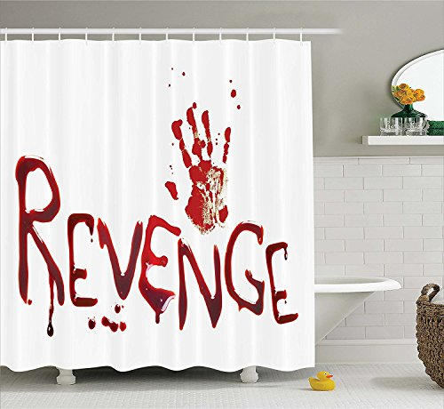 JAMES STRAIN Bloody Shower Curtain Set Handprint And Revenge With Splashed Blood Crime Help Me Horror Creepy Scary Grunge Style Fabric Bathroom Decor