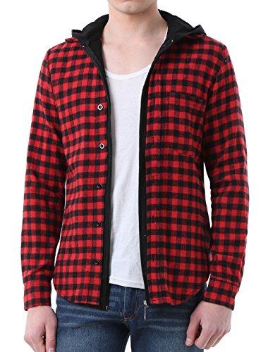 Allegra K Herren stilvoll modischer Flanell Shirt kariertes Hemd mit Kapuze - Baumwolle Plaid Button Front Shirt