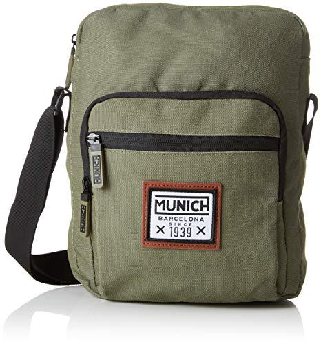Munich Herren CROSSBODY PACHT Kuriertasche, Grün (Khaki) 7x29x22 centimeters