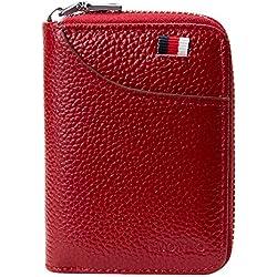 Porte Cartes de Crédit Cuir RFID pour Les Femmes Homme avec 13 Fentes pour Cartes et 2 Compartiments pour Pièce d'argent Porte-Cartes de Visite Porte-Case Porte Monnaie (Rouge)