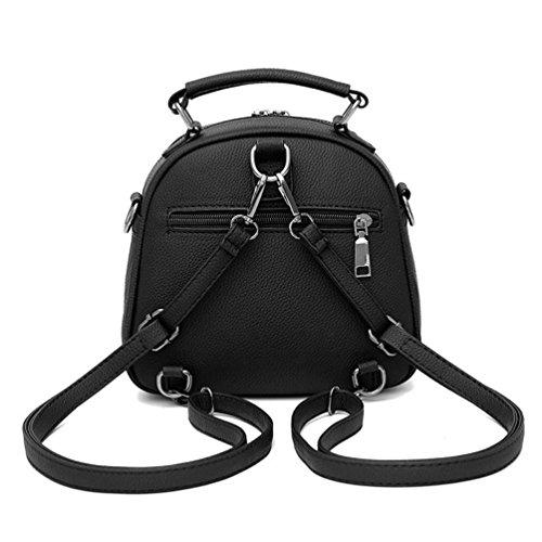 Auspicious beginning PU-Ledertaschen 3 Möglichkeiten Gurt Handtasche Umhängetasche und Rucksack für Damen dunkelgrau