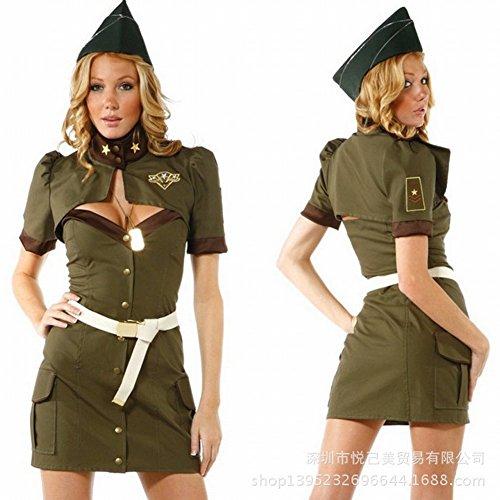 Halloween Uniformen Grün Spezielle Agenten Installiert Amerikanischen Frauen Polizei Cosplay Kleidung Stewardess Segler Rolle Kleid,Grün,Alle Code