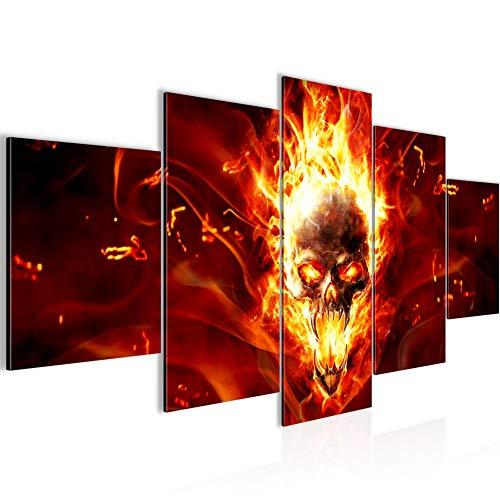 Bilder Totenkopf Feuer Wandbild 200 x 100 cm Vlies - Leinwand Bild XXL Format Wandbilder Wohnzimmer Wohnung Deko Kunstdrucke Rot 5 Teilig - MADE IN GERMANY - Fertig zum Aufhängen 402351a