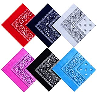 URATOT 6 Pack Cotton Bandana Multifunction Paisley Headbands Cowboy Bandana Handkerchiefs, Assorted 6 Colors, 55 by 55 cm (Black, White, Red, Navy, Pink, Sky Blue)