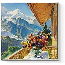 decoración de sala minimalista moderna/Sofá fondo pinturas/ Pintura europea/Pintura de la pared del cabecero de dormitorio/ Suiza paisaje-B 70x70cm(28x28inch)