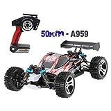 A959 Sportwagen Spielzeug,Mamum Wltoys A959 Verbesserte 540 Bürstenmotor High Speed 50 km/std 1:18 4D 2,4G RC Auto (Rot)