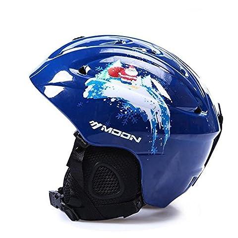 Sunvp Casque de Ski et Snowboard Style Bleu Noël Ultra-léger Hiver Sports de Neige Racing Protection de Sécurité pour Ski Skateboard Snowmobile - L