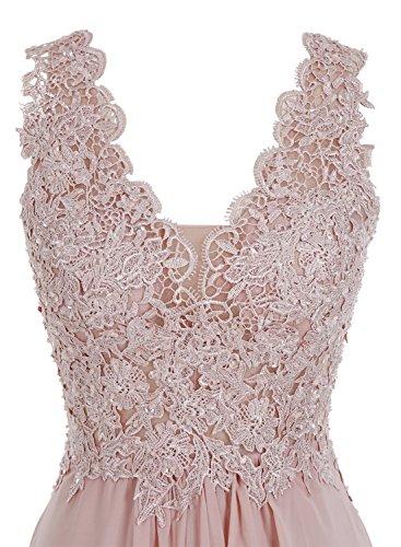 Bbonlinedress Robe de cérémonie et de mariage ou demoiselle d'honneur plissée dentelle florale sans manches longueur ras du sol en mousseline Corail