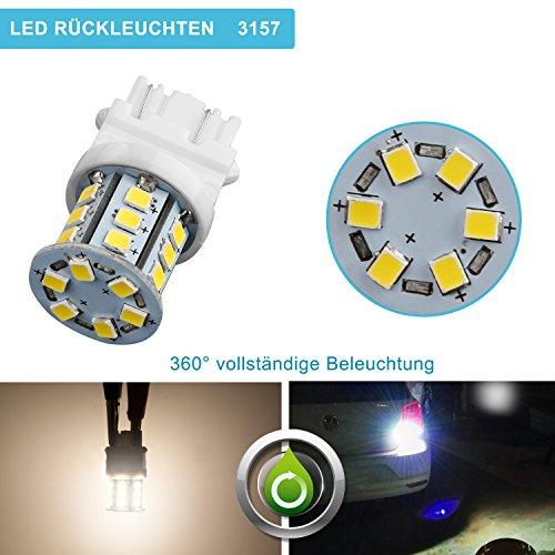 ZISTE Weiß 2835SMD P27 7W T25 3157 3056 3156 3057 LED Leuchten für Rückfahrlicht Schlussleuchten 6000k 2er-Paket