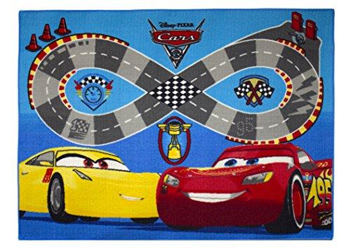 Cars tappeto di pavimento, velluto, rosso/blu, 133x 95x 1,5cm