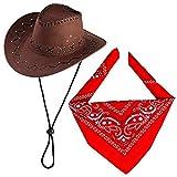 Beefunny Cappello da Cowboy con Accessori da Cowboy - Set Regalo per Fascia da Sceriffo Bandana Sceriffo Occidentale per Adulti e Bambini (caffè)