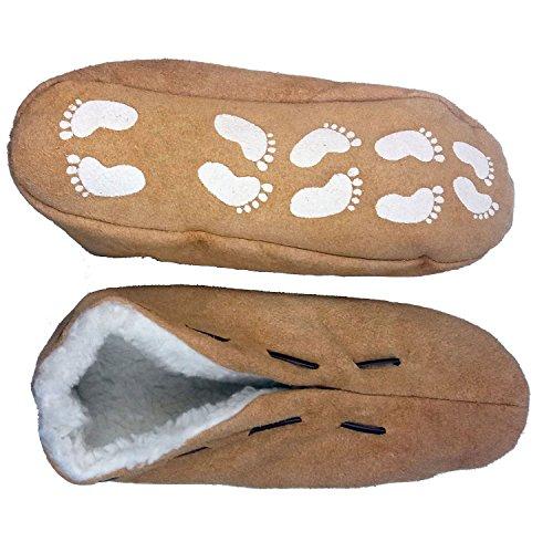 Warme Herren-Hausschuhe für den Winter - Pantoffeln mit Anti-Rutsch-Sohle und dickem Fell - Leder-Puschen, Hüttenschuhe